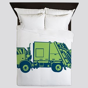 Garbage Truck Rear End Loader Side Woodcut Queen D