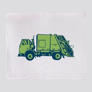 Garbage Truck Rear End Loader Side Woodcut Throw B