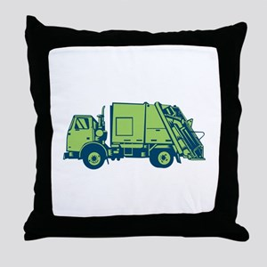 Garbage Truck Rear End Loader Side Woodcut Throw P