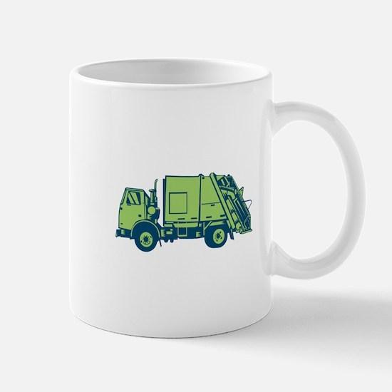 Garbage Truck Rear End Loader Side Woodcut Mugs