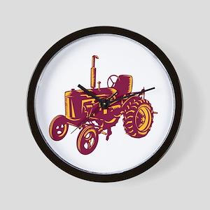 Vintage Farm Tractor Woodcut Wall Clock