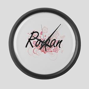Rowan Artistic Name Design with F Large Wall Clock