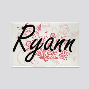Ryann Artistic Name Design with Flowers Magnets