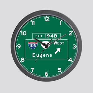 Eugene, OR Road Sign, USA Wall Clock