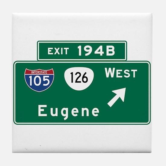 Eugene, OR Road Sign, USA Tile Coaster
