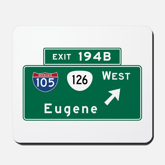 Eugene, OR Road Sign, USA Mousepad