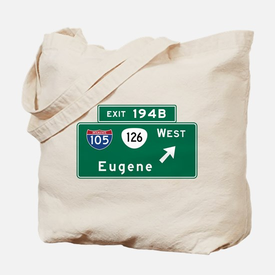 Eugene, OR Road Sign, USA Tote Bag