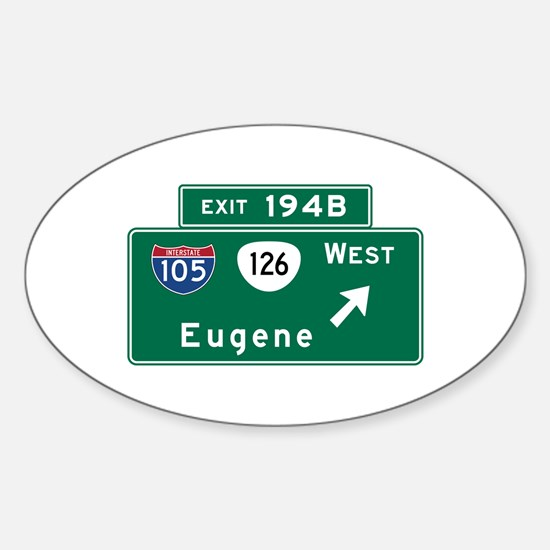 Eugene, OR Road Sign, USA Sticker (Oval)
