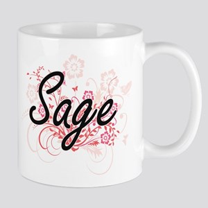 Sage Artistic Name Design with Flowers Mugs