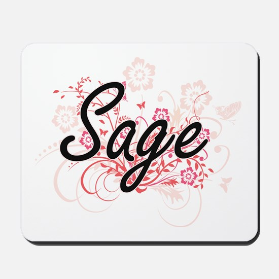 Sage Artistic Name Design with Flowers Mousepad