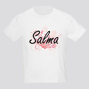 Salma Artistic Name Design with Flowers T-Shirt