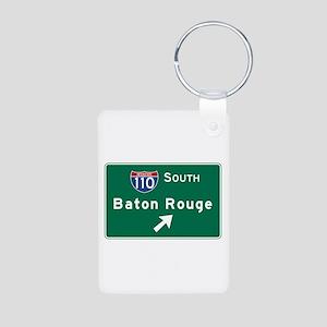 Baton Rouge, LA Road Sign, Aluminum Photo Keychain
