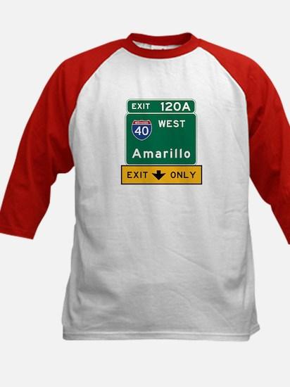 Amarillo, TX Road Sign, USA Kids Baseball Jersey
