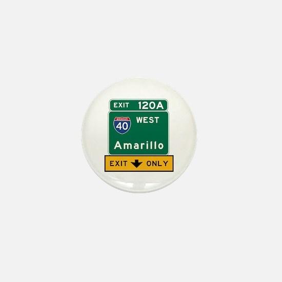 Amarillo, TX Road Sign, USA Mini Button