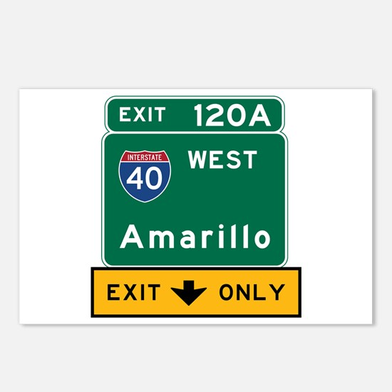 Amarillo, TX Road Sign, U Postcards (Package of 8)