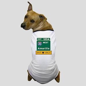 Amarillo, TX Road Sign, USA Dog T-Shirt