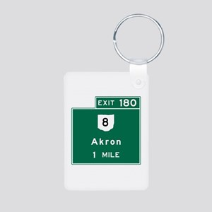 Akron, OH Road Sign, USA Aluminum Photo Keychain