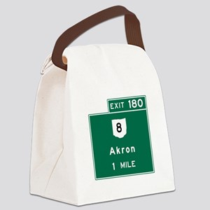 Akron, OH Road Sign, USA Canvas Lunch Bag