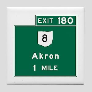 Akron, OH Road Sign, USA Tile Coaster