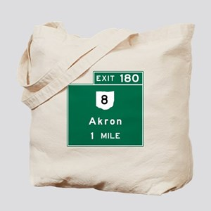 Akron, OH Road Sign, USA Tote Bag