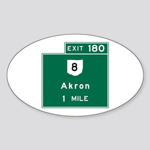Akron, OH Road Sign, USA Sticker (Oval)