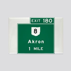 Akron, OH Road Sign, USA Rectangle Magnet