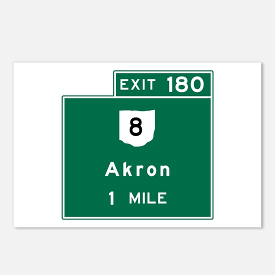 Akron, OH Road Sign, USA Postcards (Package of 8)