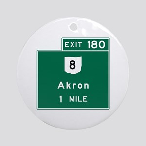 Akron, OH Road Sign, USA Round Ornament