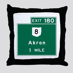 Akron, OH Road Sign, USA Throw Pillow