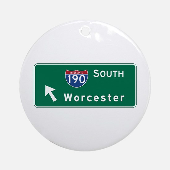 Worcester, MA Road Sign, USA Round Ornament