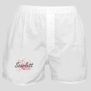 Scarlett Artistic Name Design with Fl Boxer Shorts