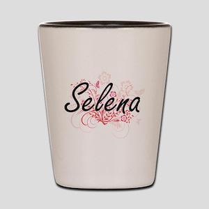 Selena Artistic Name Design with Flower Shot Glass