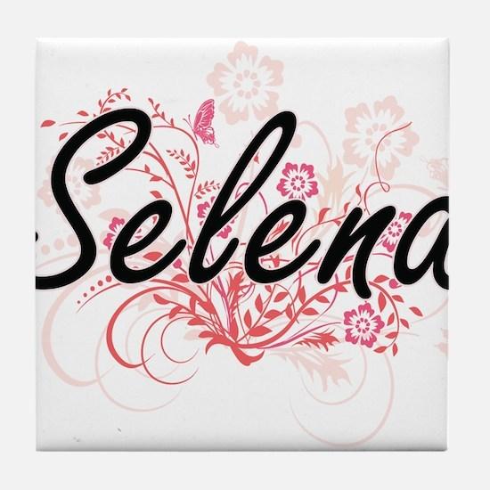 Selena Artistic Name Design with Flow Tile Coaster