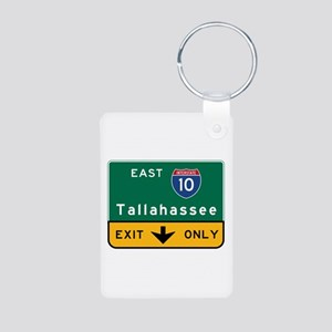 Tallahassee, FL Road Sign, Aluminum Photo Keychain