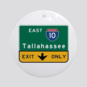 Tallahassee, FL Road Sign, USA Round Ornament