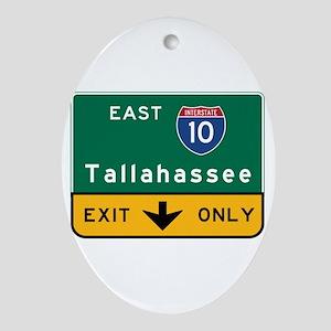 Tallahassee, FL Road Sign, USA Oval Ornament