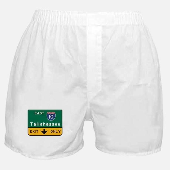 Tallahassee, FL Road Sign, USA Boxer Shorts