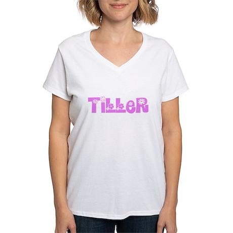 Tiller Pink Flower Design T-Shirt