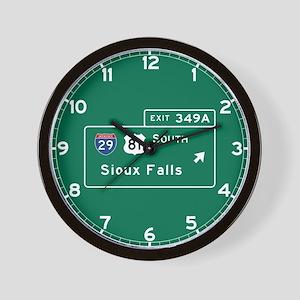 Sioux Falls, SD Road Sign, USA Wall Clock