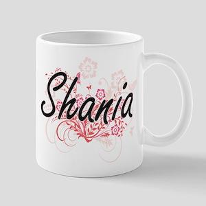 Shania Artistic Name Design with Flowers Mugs
