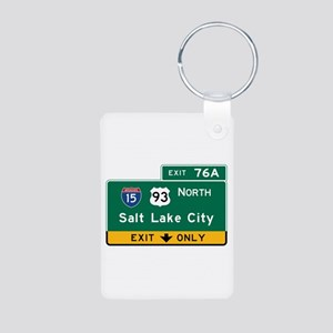 Salt Lake City, UT Road Si Aluminum Photo Keychain