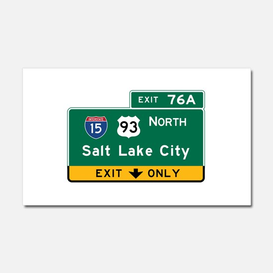 Salt Lake City, UT Road Sign, U Car Magnet 20 x 12