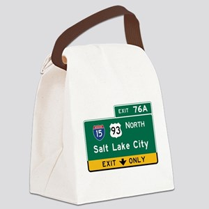 Salt Lake City, UT Road Sign, USA Canvas Lunch Bag
