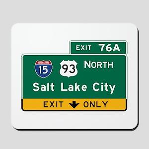 Salt Lake City, UT Road Sign, USA Mousepad