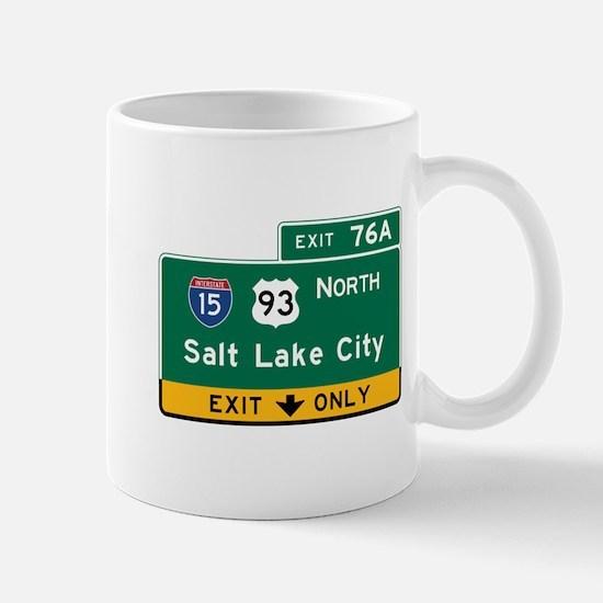 Salt Lake City, UT Road Sign, USA Mug