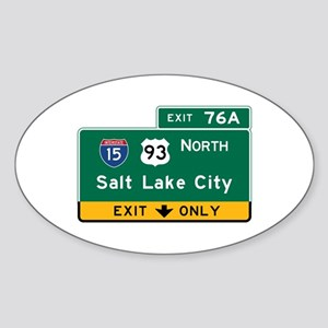 Salt Lake City, UT Road Sign, USA Sticker (Oval)