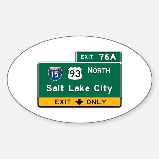 Salt Lake City, UT Road Sign, USA Sticker (Oval)