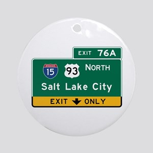 Salt Lake City, UT Road Sign, USA Round Ornament