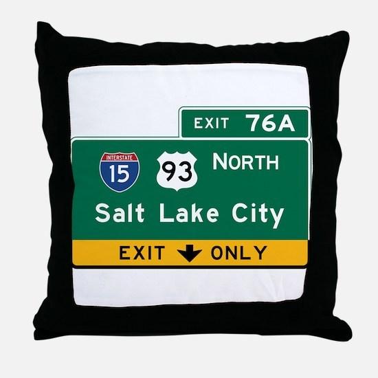 Salt Lake City, UT Road Sign, USA Throw Pillow