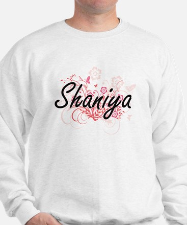 Shaniya Artistic Name Design with Flowe Sweater
